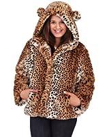 WOMENS LADIES LUXURY FAUX FUR COAT SHORT HOODED JACKET ANIMAL PRINT WITH EARS WINTER WARM WRAP SIZE UK 8-14