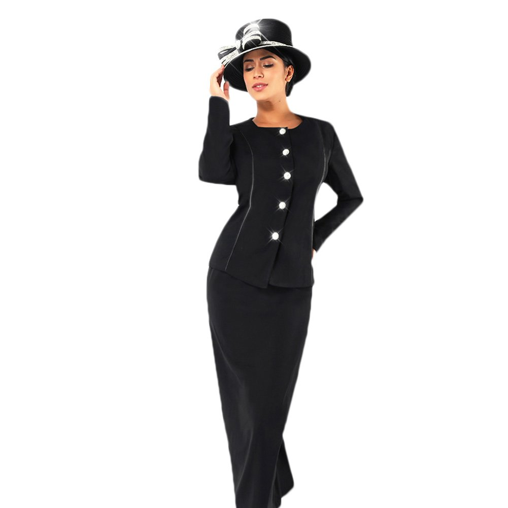 Kueeni Women Church Suits With Hats Church Dress Suit For Ladies Formal Church Clothes,Black Suits Hats,020