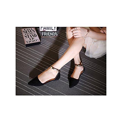 OCHENTA Mujer Ballerina Plana Zapatos Moda Hebilla Tobillo Negro