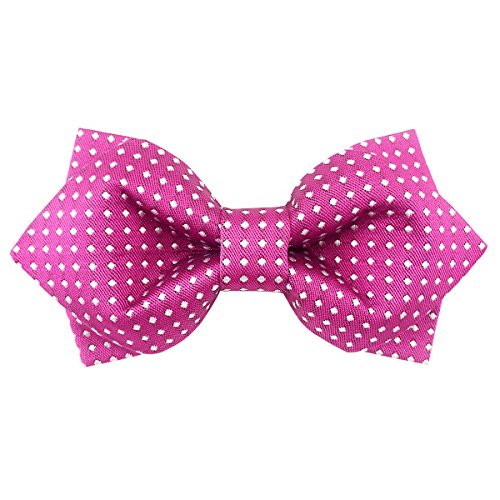 Bow Pink 24' (100% Satin Silk Bowtie Polka Dots Diamond Point Bow Ties for Men Pretied (Pink))