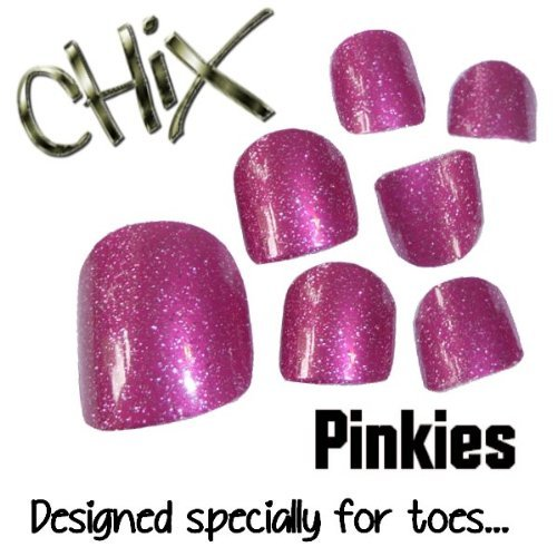 Chix Nails Pinkies Minx Trendy Style Salon Just For Toes Vinyl Foils Nail Wraps, Pink Glitter Toe5
