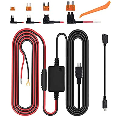 Dash Cam Hardwire Kit, Micro USB & Mini USB Hard Wire Kit Fuse for Dashcam, Dash Camera Charger Power Cord, (13ft): Car Electronics