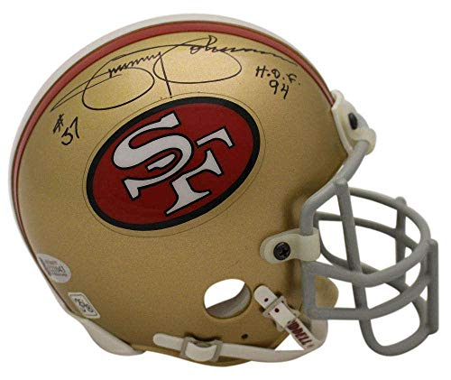 Jimmy Johnson Signed San Francisco 49ers Authentic TB Mini Helmet HOF BAS 23132 - Beckett Authentication ()