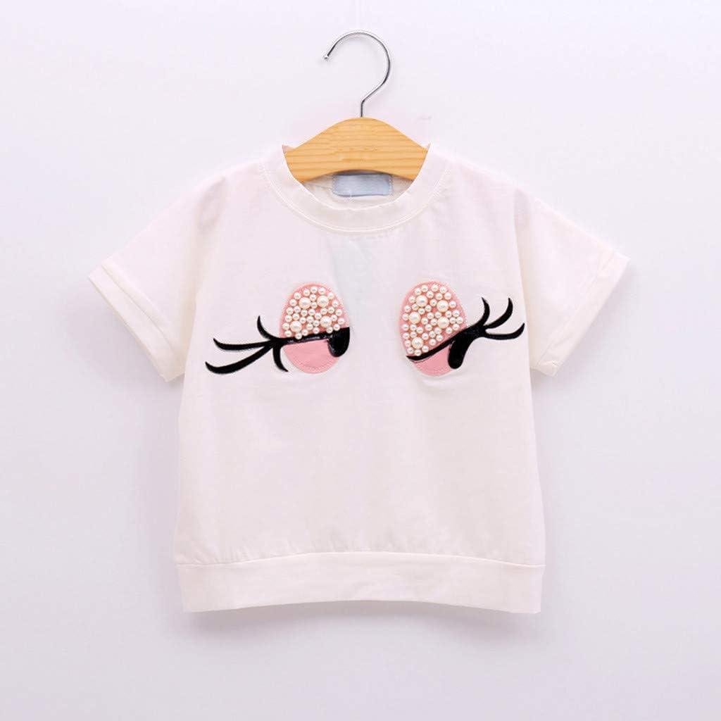 Cuekondy Toddler Kids Baby Girls Cute Cartoon Eyes Print Short Sleeve T-shirt Tops+Shorts Summer Clothes Outfits