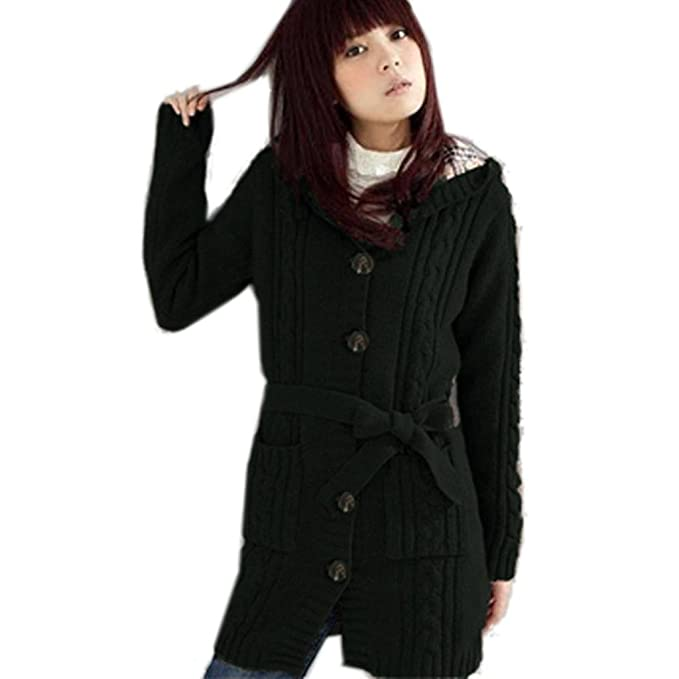 7f0462c4b3 Minetom Womens Cable Knitted Womens Grandpa Sweater With Button Long Arm  Hooded Black