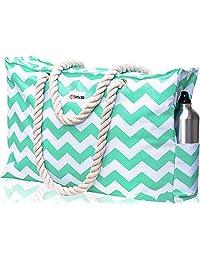 Beach Bag XL. Waterproof (IP64). L22 xH15 xW6 w Cotton Rope Handles, Top Zipper, Outside Pockets. Turquoise Green Beach Tote Includes Waterproof Phone Case, Built-in Key Holder, Bottle Opener
