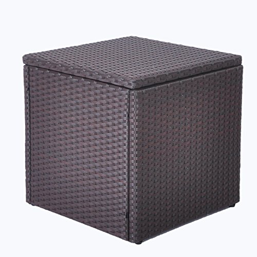 ART TO REAL Outdoor Patio Resin Wicker Deck Box Storage Container Bench Seat, 21 Gallon, Anti Rust (17.7'' 17.72'' 17.72'', Espresso) by ART TO REAL (Image #3)