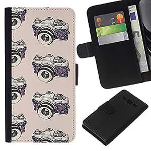 KLONGSHOP // Tirón de la caja Cartera de cuero con ranuras para tarjetas - cámara de fotos fotógrafo blanco negro - Samsung Galaxy A3 //