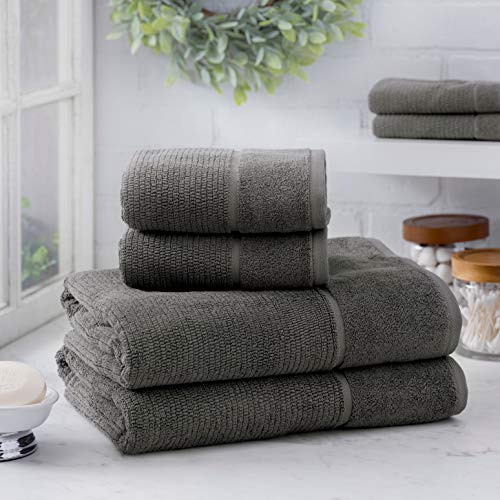 Welhome Anderson Luxurious 100% Turkish Cotton 6 Piece Towel Set (Charcoal) Supersoft - Absorbent - Hotel Spa Bathroom Towel collection - Machine Washable 2 Bath Towels - 2 Hand Towels - 2 Wash Towels ()