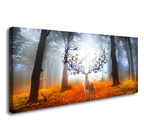 Wall Art Framed Canvas Prints Forest and Fantasy Deer Stretched and Framed Canvas Paintings Ready to Hang for Home Decorations Wall Decor ()