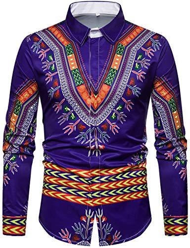 (WHATLEES Mens Geek Design African Traditional Dashiki Long Sleeve Slim Fit Casual Button Down Shirts, T5508 Blue Medium)