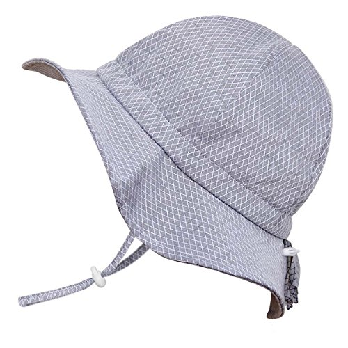 JAN & JUL Toddler Boys Girls Cotton Sun Hats 50 UPF, Drawstring Adjustable, Stay-on Tie (M: 6-24m, Floppy Hat: Grey Tiny Argyle)