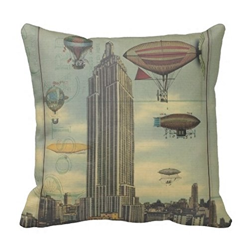 Vincent Vivi Fresh And Simple Home Pillow Steampunk Airships In The Sky Over New York City Pillow - Vivi City