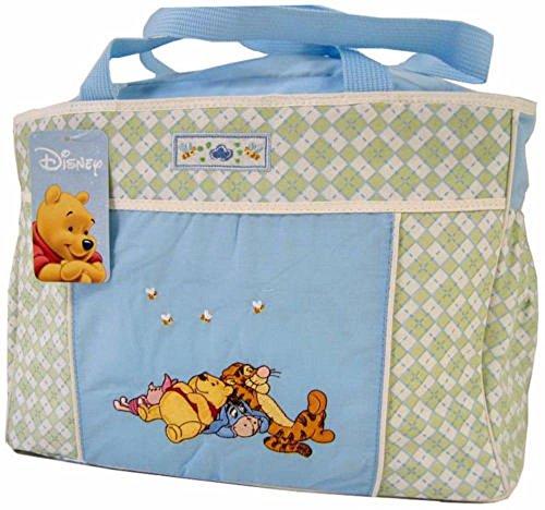 Pooh Disney The Winnie Diapers (Disney Winnie The Pooh Blue Green Baby Large Tote Diaper Bag)