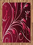 Maroon Area Rug by Lunarable, Modern Japanese Artwork Flower Abstraction Petals Dots Swirls Graphic Plant, Flat Woven Accent Rug for Living Room Bedroom Dining Room, 5.2 x 7.5 FT, Maroon Dark Maroon