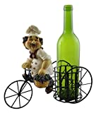 italian chef man - Decorative Metal Wine Bottle Holder With Polyresin Kitchen Chef Holding A Basket Of Grapes On Tricycle