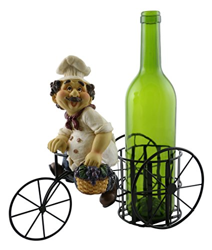 Wine Bottle Metal Grapes (Decorative Metal Wine Bottle Holder With Polyresin Kitchen Chef Holding A Basket Of Grapes On Tricycle)