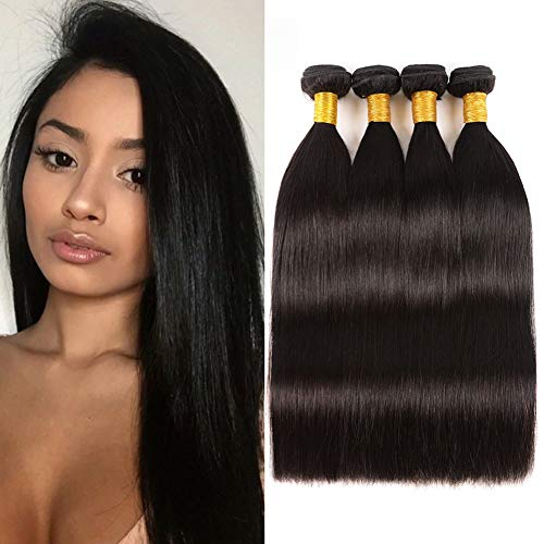 (Huarisi 4 Bundles Straight Hair 9A Mink Brazilian Human Hair Weaving 14 16 18 20 Straight Virgin Hair Bundles Natural Color No Shedding 400g)