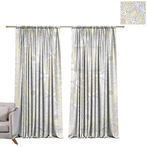 Drapes Damask Seamless with Baroque Ornaments. Victorian Style Background. Royal Wallpaper. W72 x L108 Drapes for Living Room