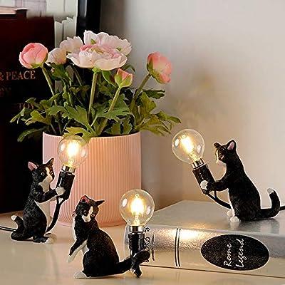 1 Juego de 3 Piezas gato del animal doméstico lámpara de mesa |Luz de la noche |Dormitorio lámparas de Nightstand |Iluminación de escritorio, de escritorio Lámparas decoración regalo - Negro: Amazon.es: Hogar