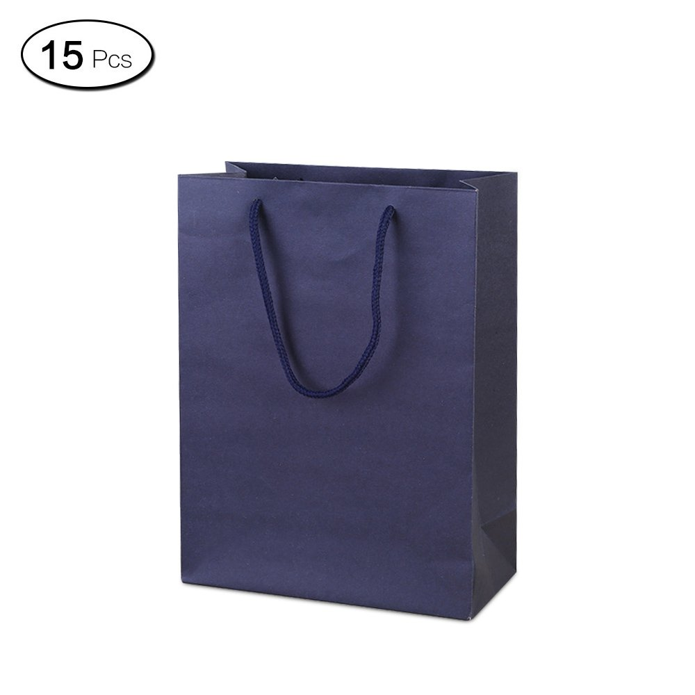 Jia Hu 15Pcs Classical Paper Gift Bags with Handles Colors Storage Bag for Cloth Travel Dark Blue