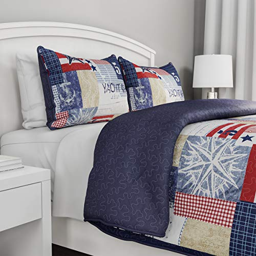 3-Piece Quilt Set - Nautical Americana Patchwork Print All-Season Soft Microfiber Bedspread with Shams - Bedding by LHC (Full/Queen) (Patchwork Nautical Quilt)
