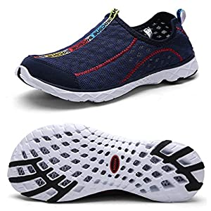 Yotani Mens / Womens Lightweight Soft Mesh Draining Holes Slip-On Beach Walking Pool Swimming Water Shoes Navy Size 12 US for Women/9.5 US for Men