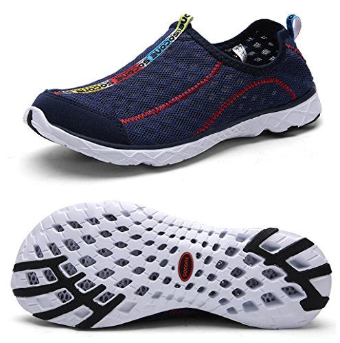 Yotani Mens / Womens Lightweight Soft Mesh Draining Holes Slip-On Beach Walking Pool Swimming Water Shoes Navy Size 10 US Men