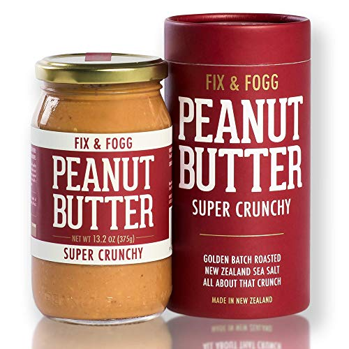 Fix & Fogg Super Crunchy Peanut Butter (13.2 oz) All Natural, Handmade, Vegan, Extra Chunky, Golden Roasted With Glass Jar and Beautifully Designed Cardboard Gift Canister. by Fix & Fogg