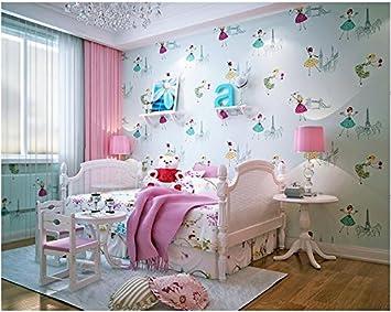 Yosot Dicke Cartoon Mädchen Schlafzimmer Warmen Kinderzimmer Prinzessin  Zimmer Grün Rosa Vlies Tapete Blau