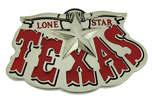 Lone Star State Of Texas US Belt Buckle Western Unisex Rodeo Red Text Metal New (Adult Cop Belt)