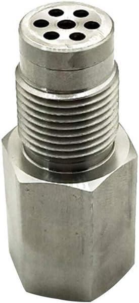 Separador de comprobaci/ón de Acero Inoxidable Tama/ño Libre Herramienta de Piezas de Auto Mini catalizador eliminador de CEL Universal Plateado SYN Adaptador de Sensor O2 luz de Motor de Coche