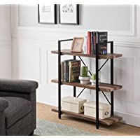 Vintage Dark Brown / Black Metal 3-tier Bookcase Bookshelf Shelf Storage