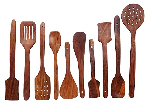 Amaze Shoppee Wooden Spoons For Cooking,nonstick Kitchen Utensil Set,wooden Spoons Cooking Utensil Set Wooden Utensils For Cooking (pack Of 10 Spoons)