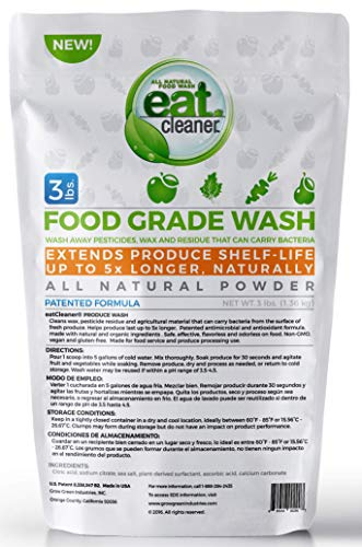 Eat Cleaner Mega Fruit and Vegetable Wash Cleans Up to 4000 Lbs of Produce, Patented, Super Concentrated Powder is Ideal for Commercial Kitchens, Restaurants, Cafes, Food Trucks, Home Use - 3 LB Bag
