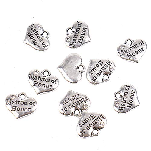 - Pomeat 20Pcs Antique Silver Rhinestone Heart ''Matron of Honor '' Charms Pendant for Jewelry Making and Crafting