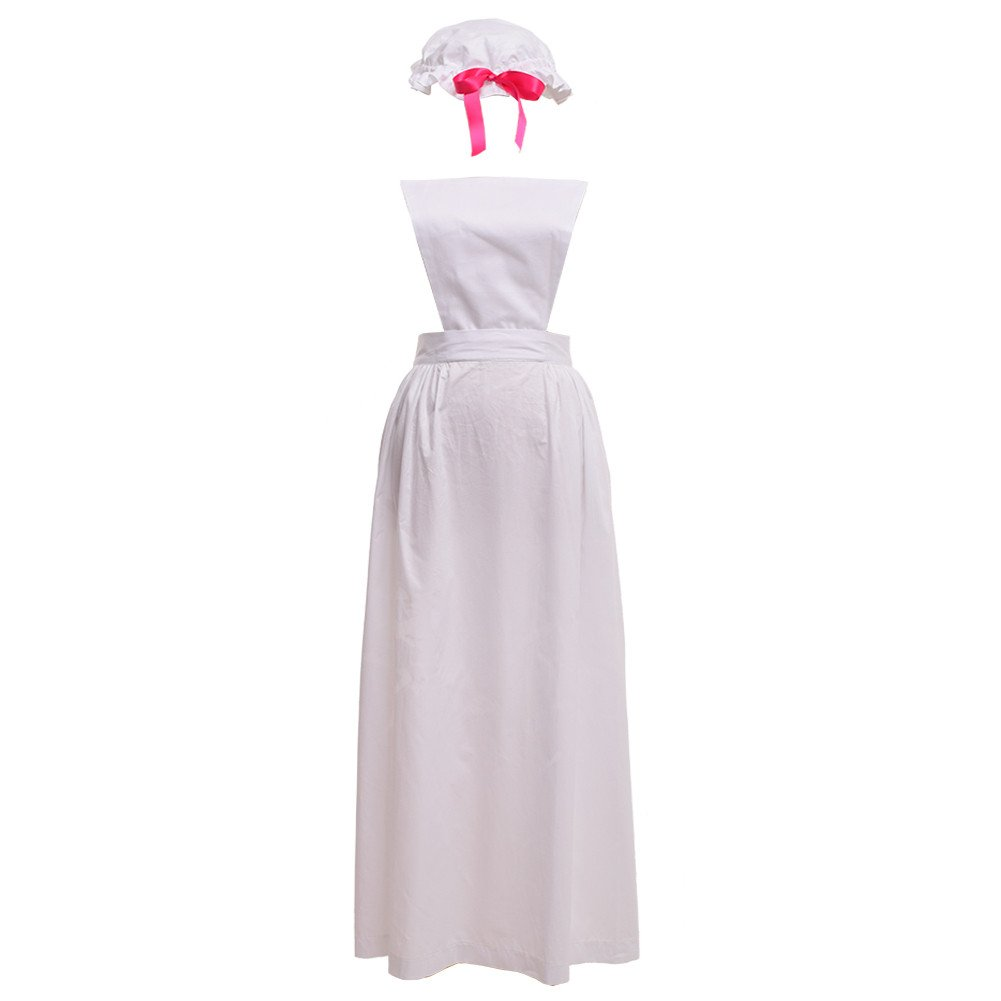Victorian Edwardian Apron, Maid Costume & Patterns GRACEART Victorian Pinafore Colonial Apron with Mob Cap 100% Cotton (4 Styles Option) $39.99 AT vintagedancer.com