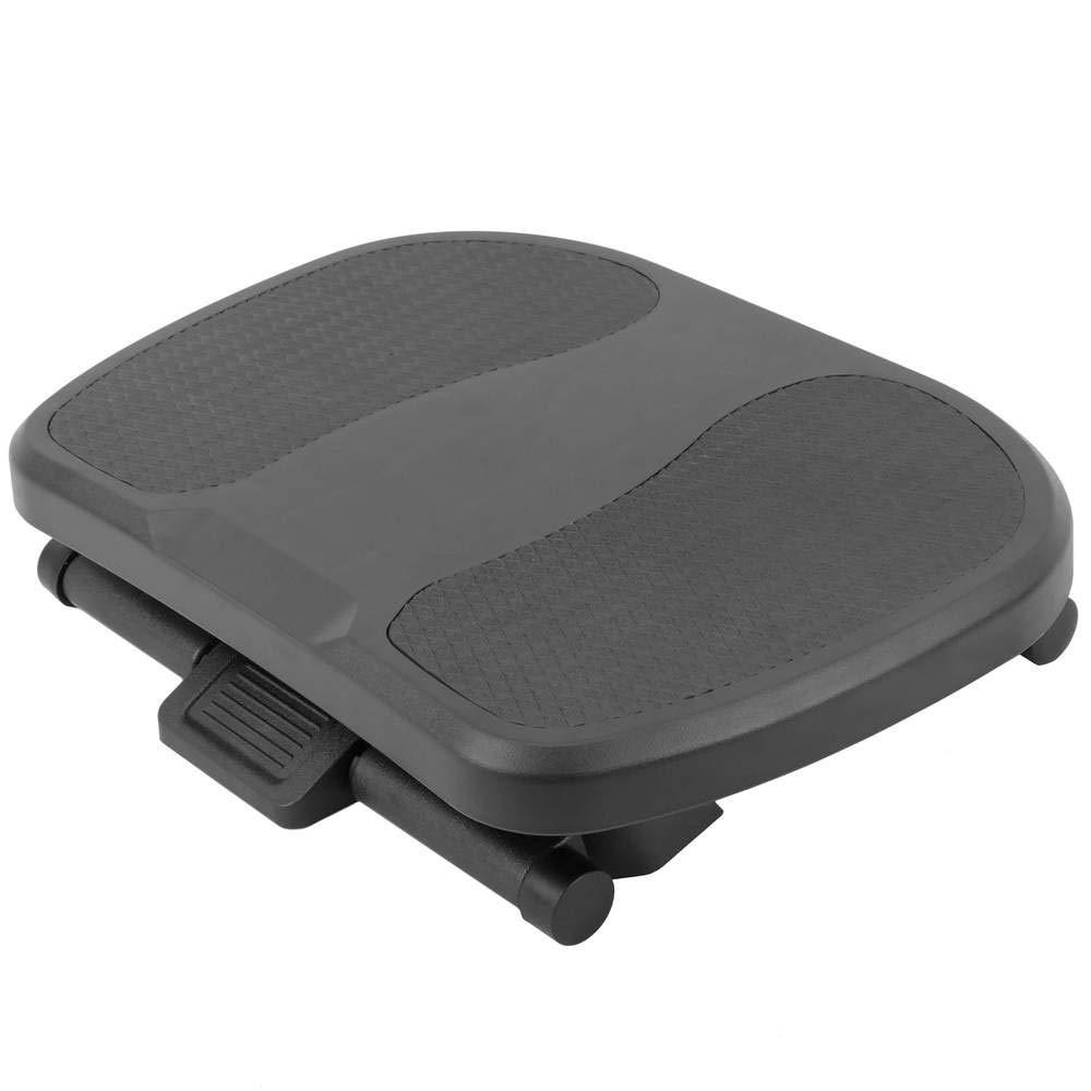 PrimeMatik - Reposapiés con Plataforma Negro Ajustable de plástico Negro Plataforma 424 x 283 mm con 3 Alturas d12737