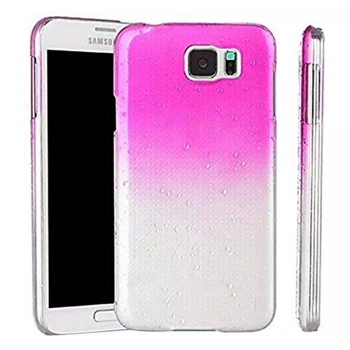 Caja del telefono - SODIAL(R) 1X Conjunto de accesorios para Samsung S6 G9200 SM-G920F 3D cubierta protectora transparente de patron de gota de lluvia rojo de rosa