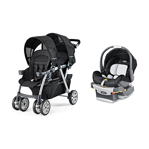 Chicco Cortina Together Travel System Double Stroller + KeyFit Infant Car Seat