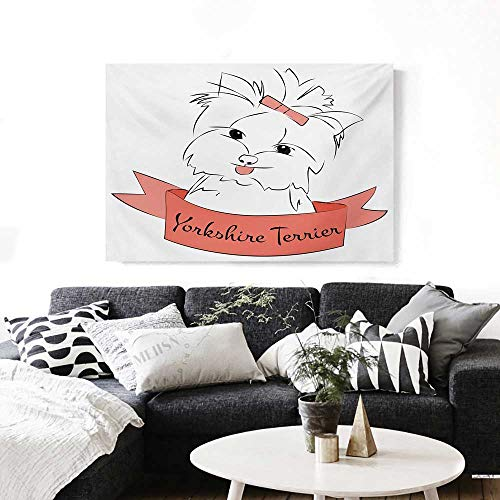 - BlountDecor Yorkie Modern Canvas Painting Wall Art Cute Puppy with Hair Buckle Yorkie Terrier Animal Ribbon Cartoon Character Print Art Stickers 24