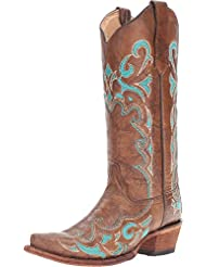 Corral Circle G Womens Turquoise-Embroidered Distressed Brown Leather Cowgirl Boots