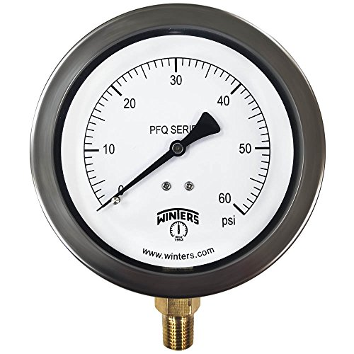 Winters PFQ Series Stainless Steel 304 Single Scale Liquid Filled Pressure Gauge with Brass Internals, 0-60 psi, 4