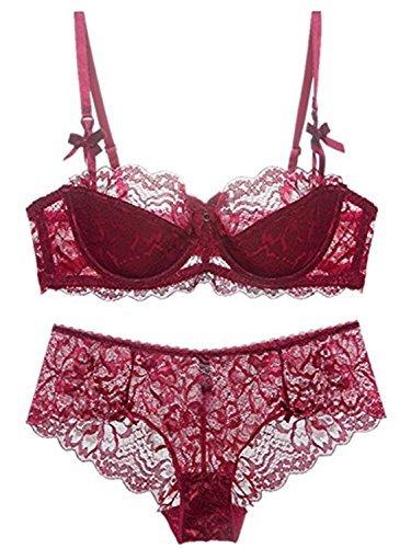 Burvogue Women's Embroidery Bras Set Lace Lingerie Bra and Panties