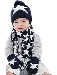 Baby Kid Boy Girl Winter Knitted Star Hat+Scarf+Gloves 3Pieces Set
