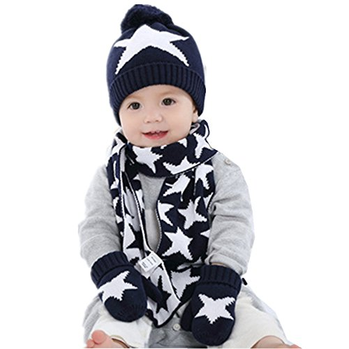 - Ding-dong Baby Kid Boy Girl Winter Knitted Star Hat+Scarf+Gloves 3Pieces Set(Navy,0-1T)