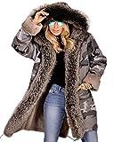 Roiii Women's Elegant Winter Woolen Faux Fur Chic Hooded Slim Jacket Coat Plus Size S-3XL (X-Large, Grey)