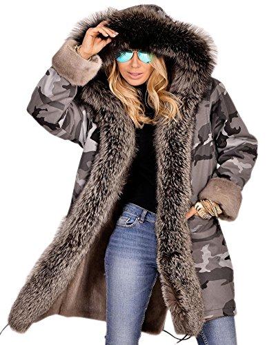Roiii Women's Elegant Winter Woolen Faux Fur Chic Hooded Slim Jacket Coat Plus Size S-3XL (X-Large, Grey) by Roiii