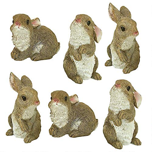 Design Toscano The Bunny Den, Garden Rabbit Statue (Set of 6)
