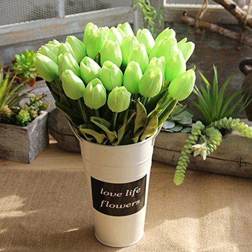 Lavender Coral - YJYdada Artificial Fake Flowers Tulip Bouquet Floral Wedding Bouquet Party Home Decor (Green)